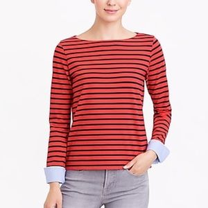 J. Crew Striped Boatneck Cuffed Long Sleeve